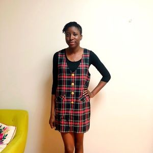 90s Black & Red Plaid Jumper Dress